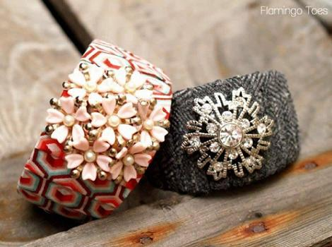brazaletes diy forrados con tela y abalorios