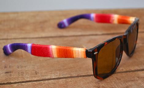 decorar gafas de sol con hilos
