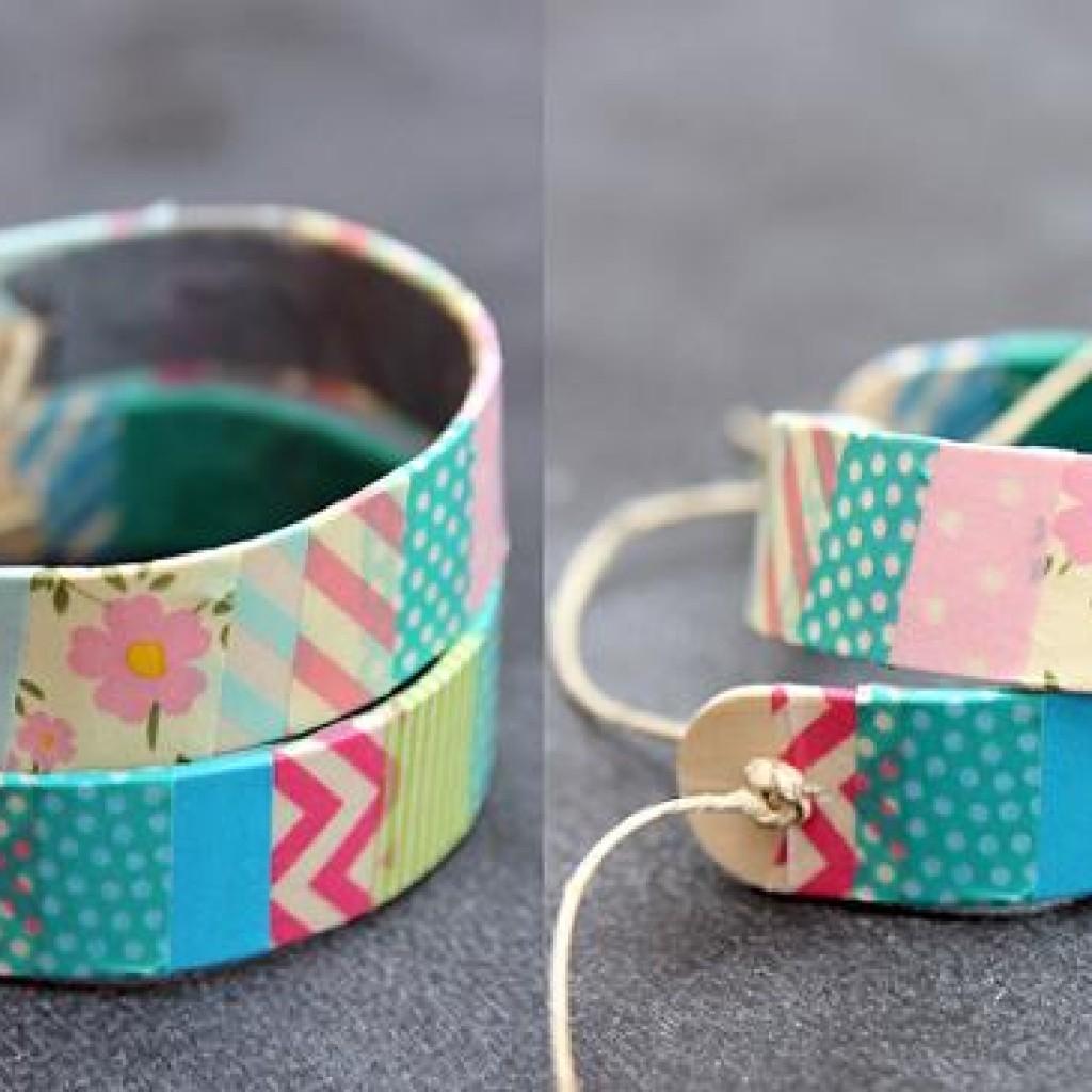 Como hacer una pulsera rigida y decorarla con washi tape - Como decorar con washi tape ...
