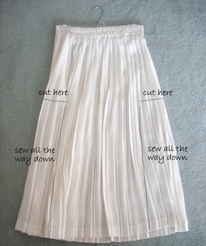 falda larga plisada vestido cortes