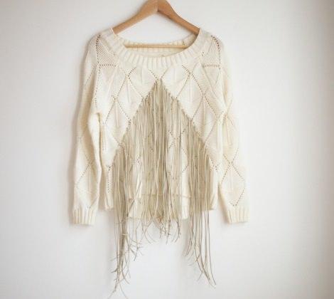 cómo hacer un jersey de flecos a la moda