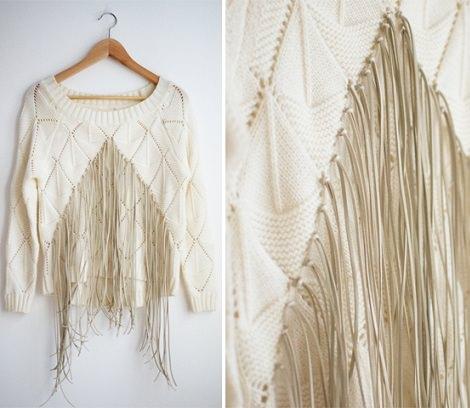 hacer un jersey con flecos a la moda