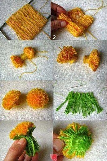 Paso a paso c mo hacer flores con hilos de lana - Como hacer manualidades con lana ...