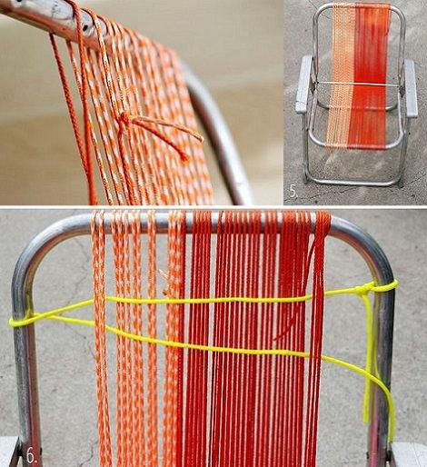 Diy para decorar tu silla de playa con cordones para el verano - Tejidos para tapizar sillas ...