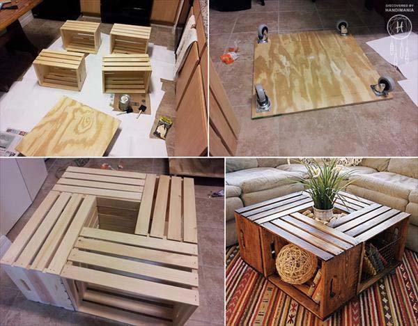 5 ideas originales para decorar con cajas de madera - Mesas con cajas de madera ...