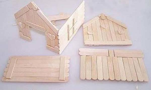 Manualidades con palillos una casa muy f cil - Como se hace una casa de madera ...