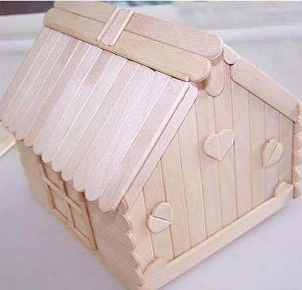 Manualidades con palillos una casa muy f cil - Como se construye una casa ...