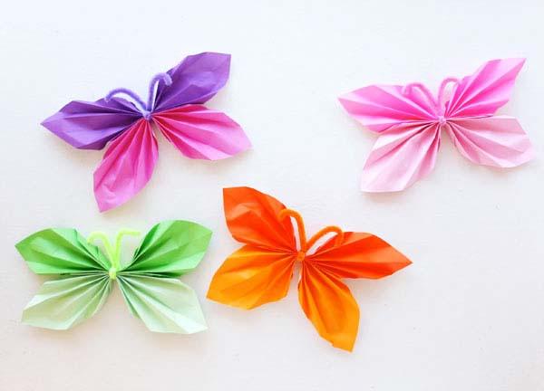 C mo hacer mariposas de papel seda para decorar - Como hacer cadenetas de papel para fiestas ...
