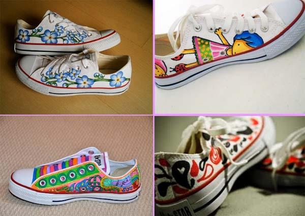 Decoracion de zapatos de tela for Decoracion de unas converse