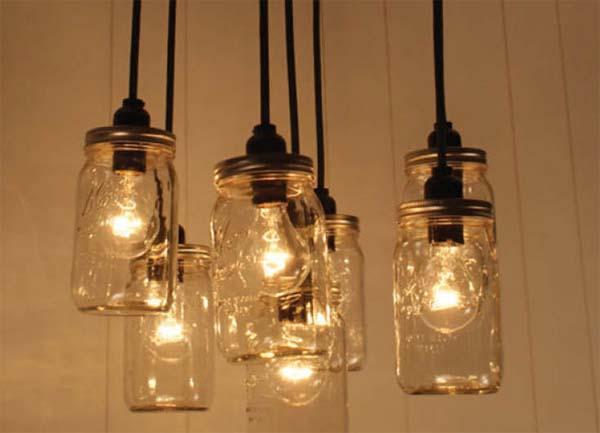 C mo hacer una l mpara con tarros de cristal - Como hacer una lampara de pared ...